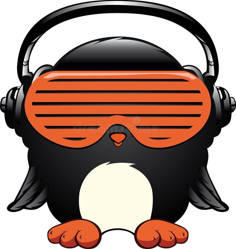Pingvin i hörlurar royaltyfri illustrationer