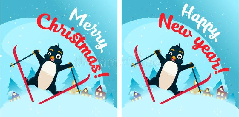 Pingvin i snöplats Vykort royaltyfri illustrationer