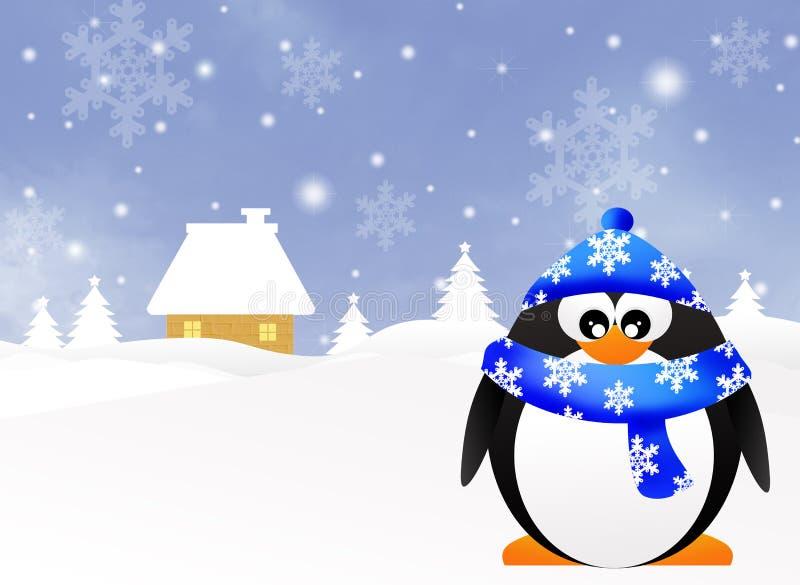 Pingvin i vinter royaltyfri illustrationer