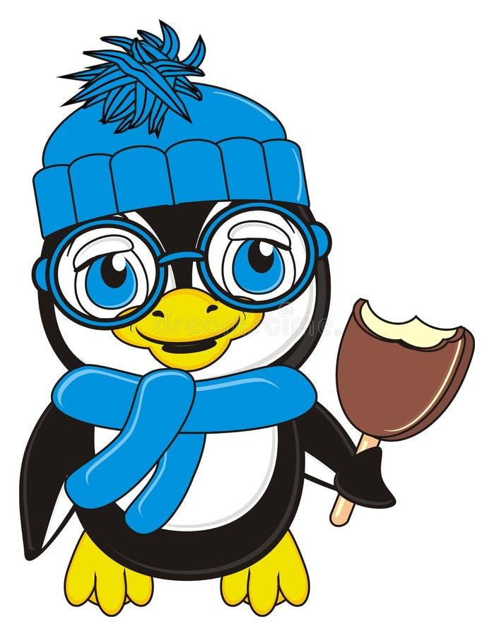 Pingvin med chokladglass stock illustrationer