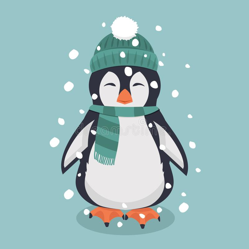 pingvin med den gröna hatten och halsduken royaltyfri illustrationer