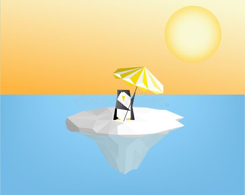 Pingvin med paraplyet på isisflak - global uppvärmningbegreppsvect stock illustrationer