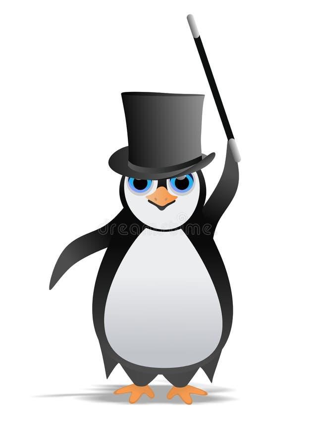 Pingvin med trollkarlhatten royaltyfri illustrationer