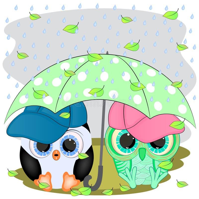 Pingvin och uggla Under paraplyet stock illustrationer
