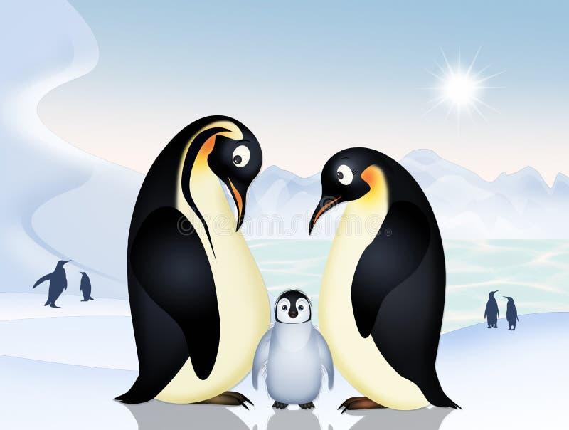 Pingvin på is vektor illustrationer