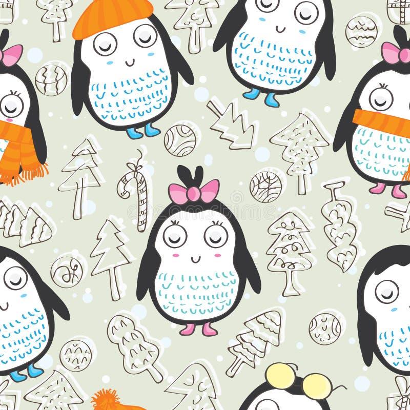 Pingvin sömlösa Pattern_eps vektor illustrationer