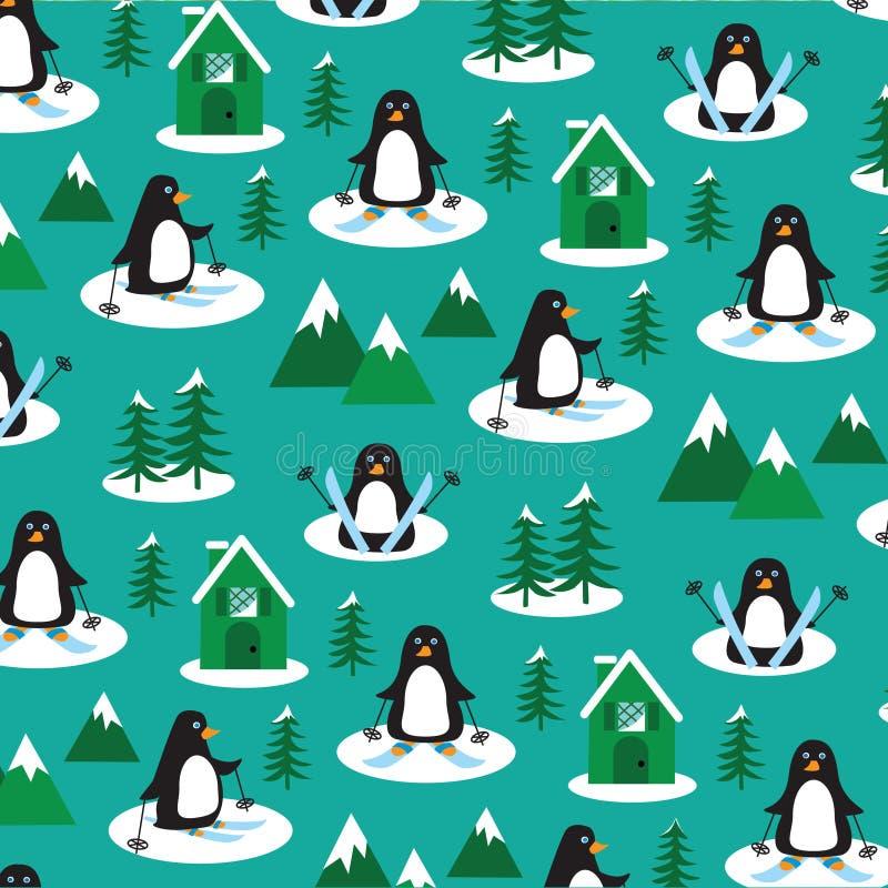 Pingvin skidar på stock illustrationer
