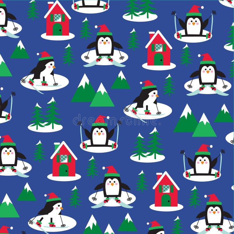 Pingvin skidar platsen vektor illustrationer