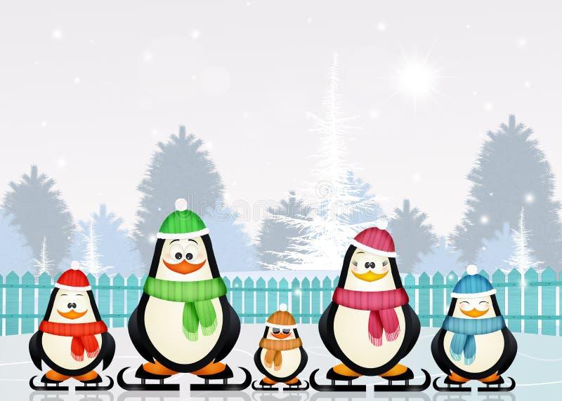Pingvin som åker skridskor på is i vinter stock illustrationer