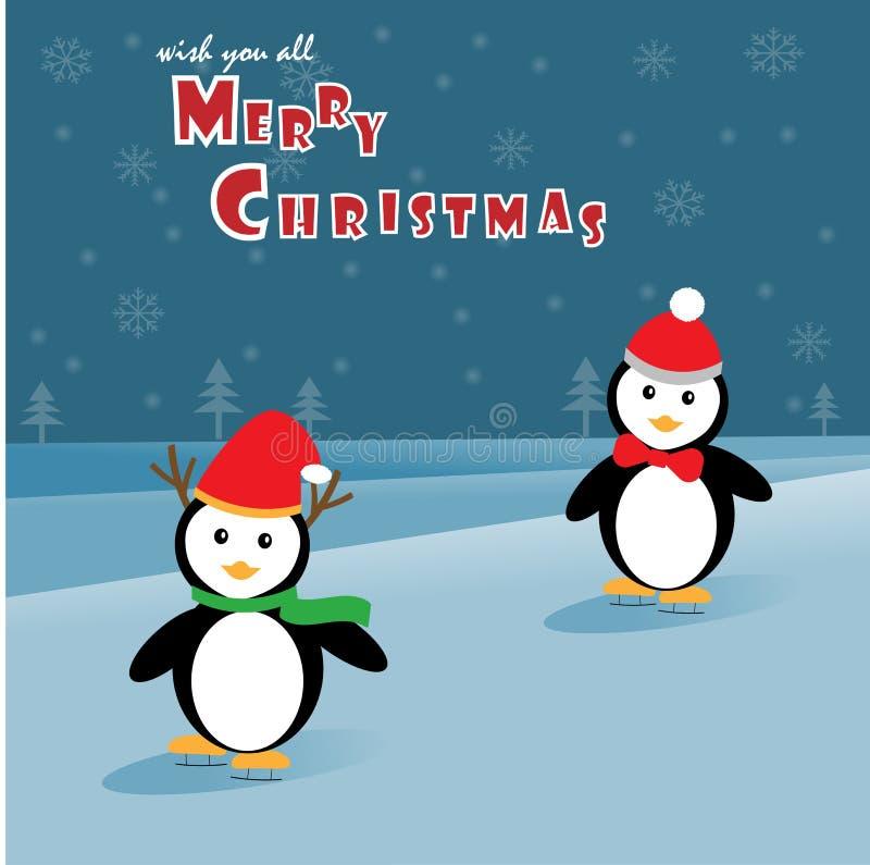 Pingvin som åker skridskor på isen vektor illustrationer