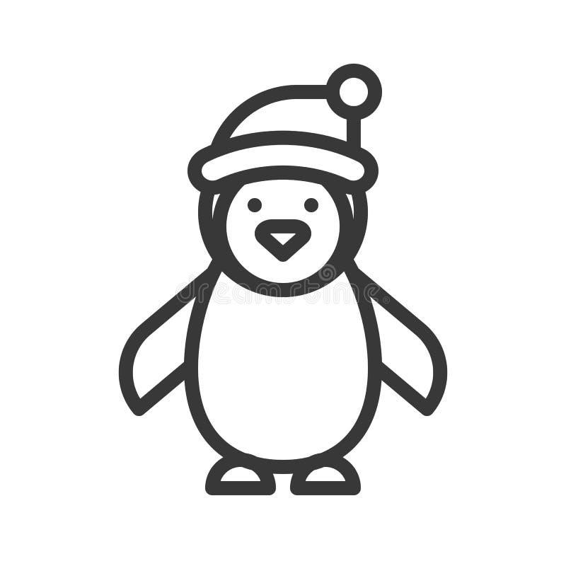 Pingvin som bär den Santa Claus hatten, temauppsättning för glad jul, outl vektor illustrationer