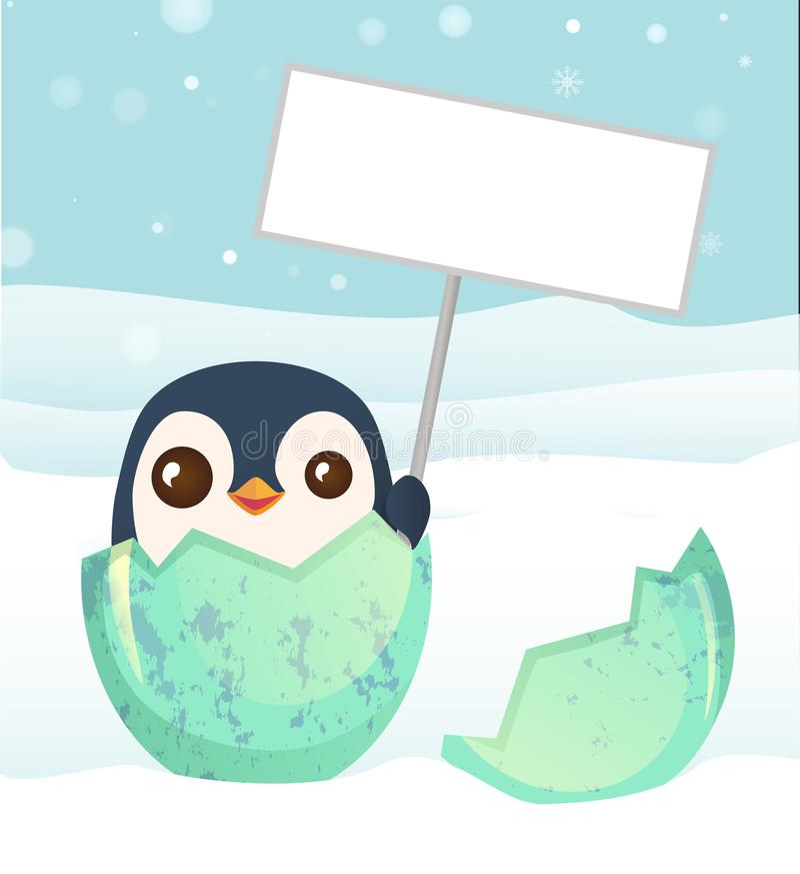 Pingvin som kläckas från ägget stock illustrationer