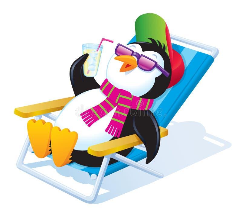 Pingvin som kopplar av i solen med den med is drinken royaltyfri illustrationer