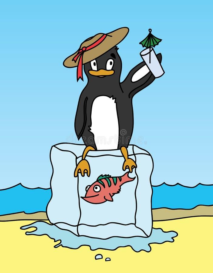 Pingvin som rymmer en drink och sitter på kvarteret av is vektor illustrationer