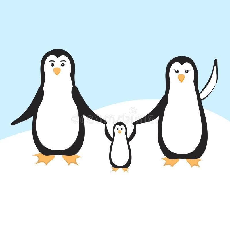 pingvin två för pingvin för ram för familj för fågelungar för vuxen människabakgrund blåa stock illustrationer
