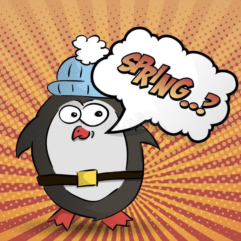 Pingvinet önskar våren, rastrerad färgrik bakgrund, vektor royaltyfri illustrationer