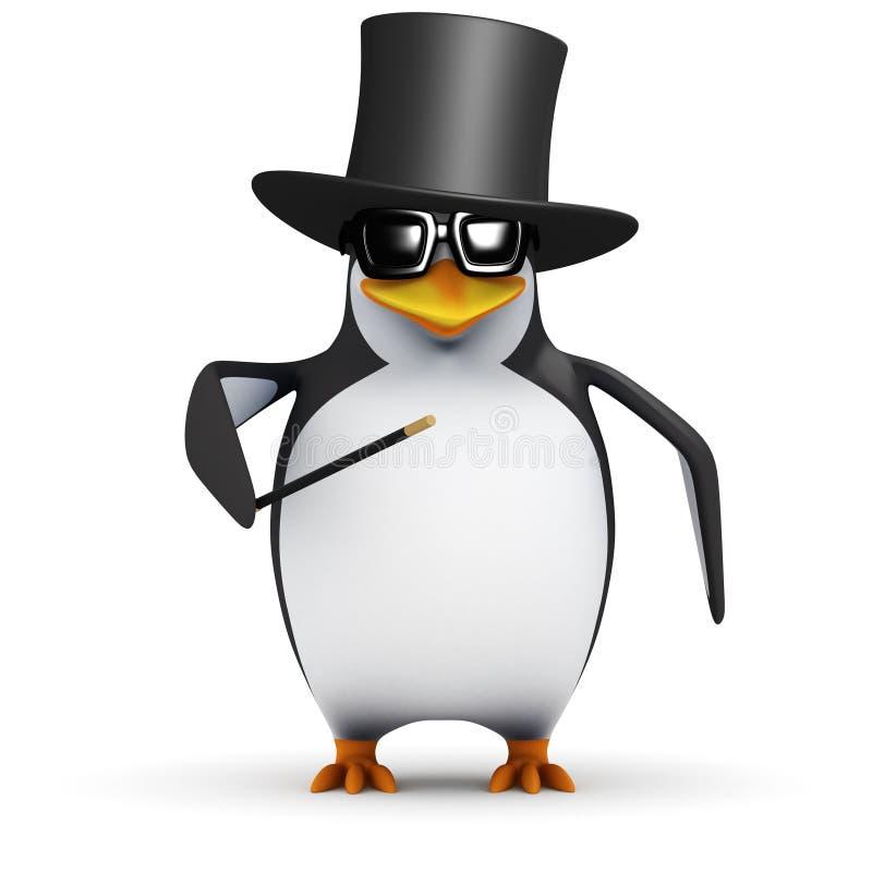 pingvinet 3d är en trollkarl stock illustrationer