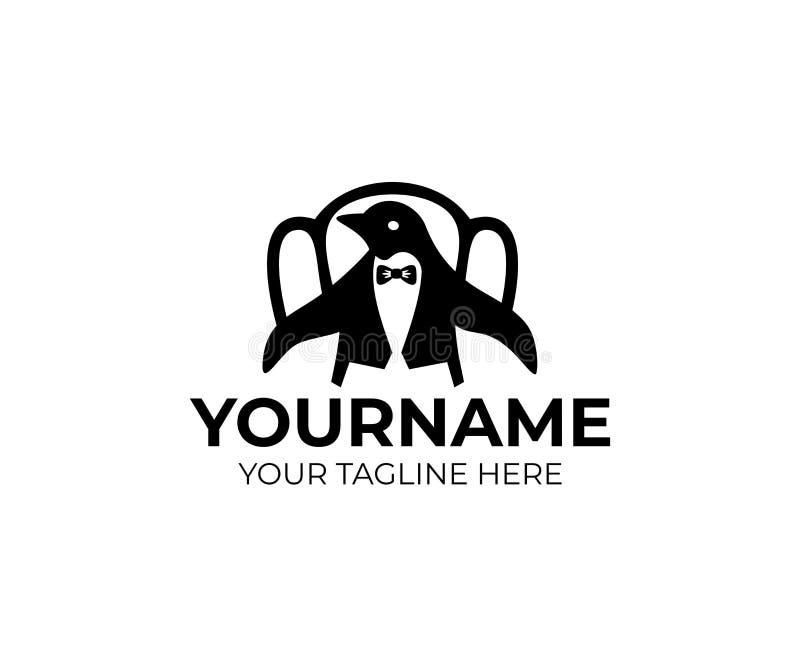 Pingvinet i jackett, frac och smoking sitter på tappningstol, logomall Djur för tecknad filmtecken och fågel, iklädd mänsklig clo royaltyfri illustrationer