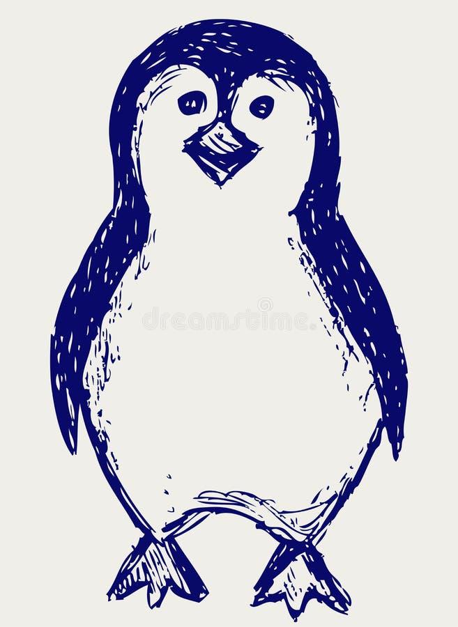 Pingvinet skissar vektor illustrationer