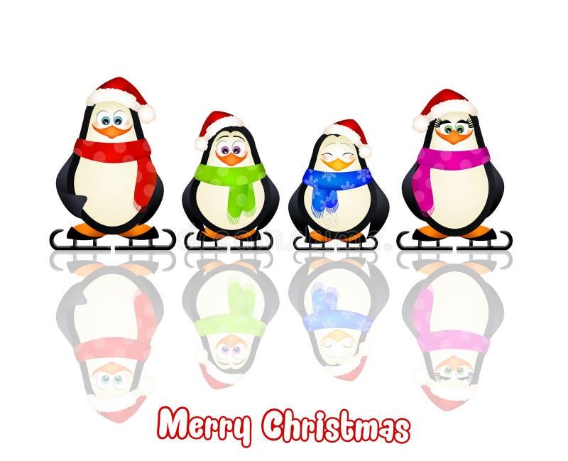 Pingvinfamilj vektor illustrationer