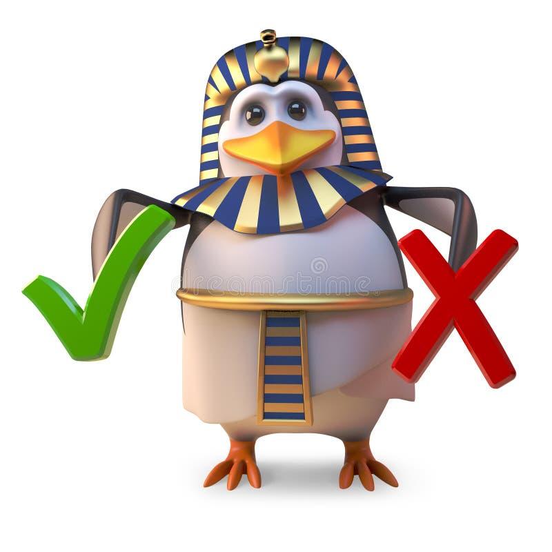 Pingvinfarao Tutankhamun måste välja mellan en fästing och ett kors, illustrationen 3d royaltyfri illustrationer