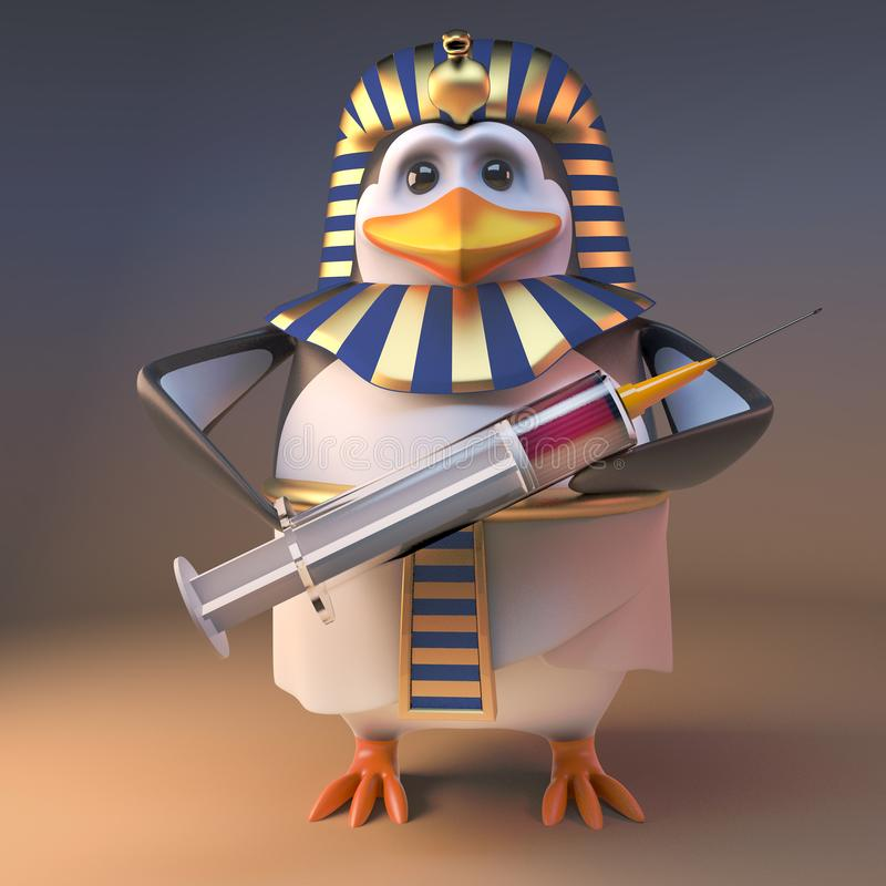 Pingvinfarao Tutankhamun som för tecknad film 3d mycket rymmer en injektionsspruta av medicin, illustration 3d vektor illustrationer