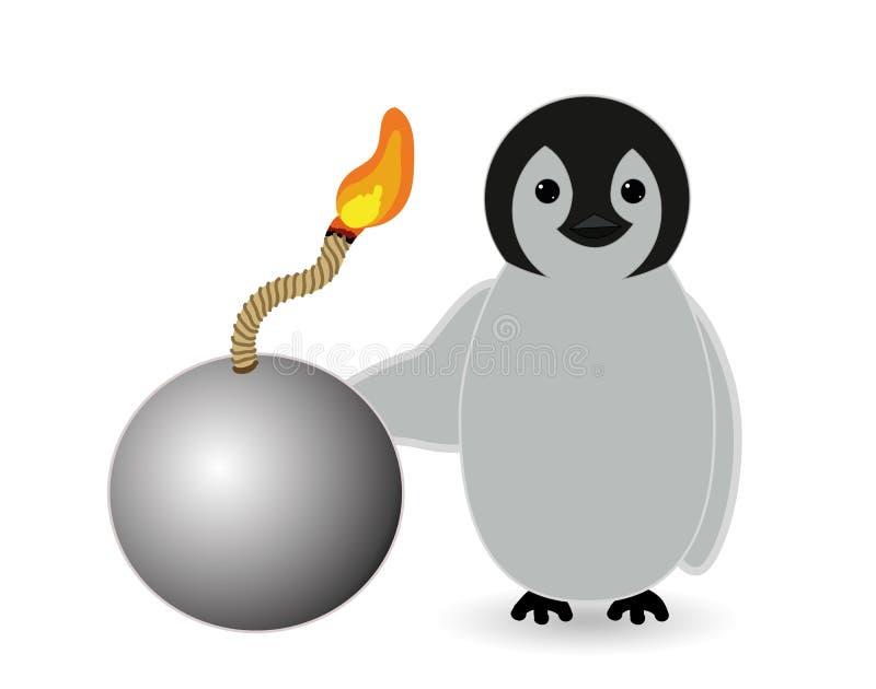 Pingvininnehavet bombarderar som är klart att spränga stock illustrationer