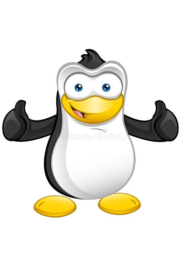 Pingvinmaskot - tum upp royaltyfri illustrationer