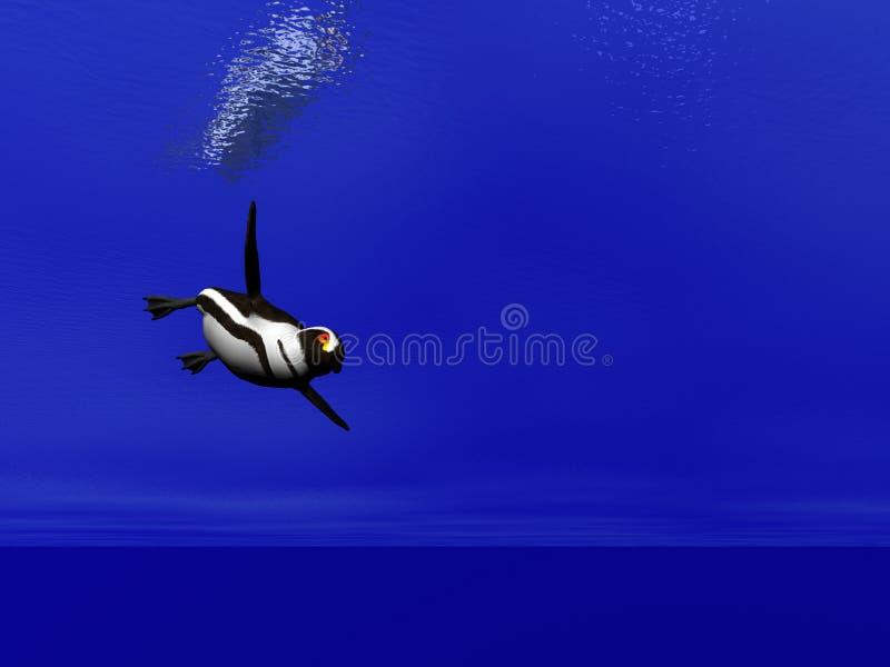 pingvinsimning vektor illustrationer