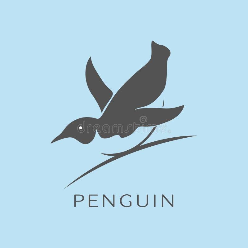 Pingvinsymbolsvektor, plant tecken royaltyfri illustrationer