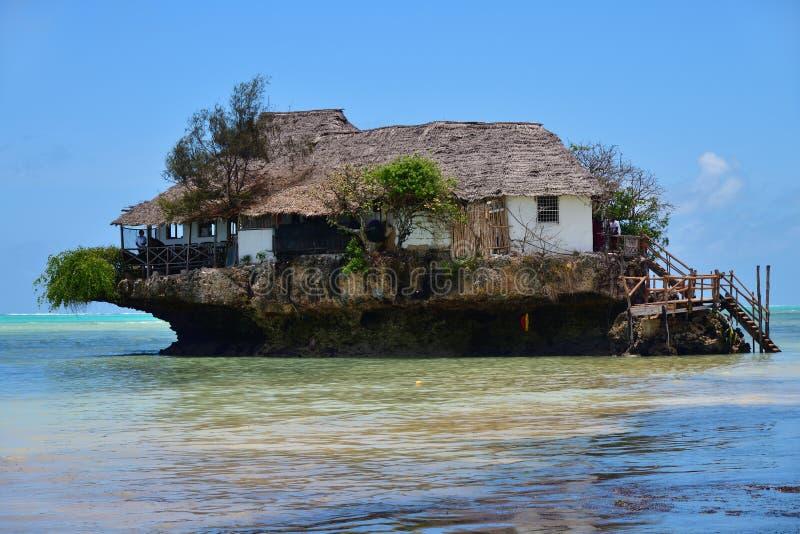 The Rock famous amazing location restaurant, Pingwe, Zanzibar, Tanzania, Africa royalty free stock images