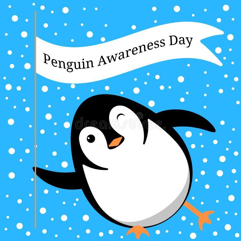 Pingwin świadomości dzień Pingwin ono ślizga się na lodzie, mrugnięcia, chwyty flaga z imieniem wydarzenie ilustracji