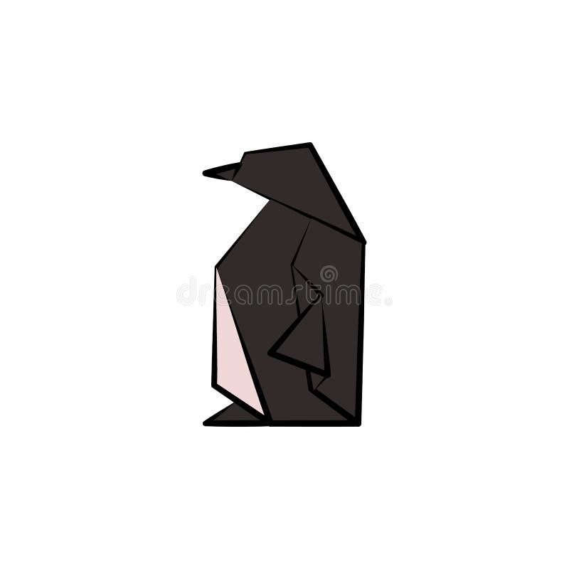 pingwin barwiąca origami stylu ikona Element zwierzę ikona Robić papier w origami techniki pingwinu wektorowej Ilustracyjnej ikon ilustracji