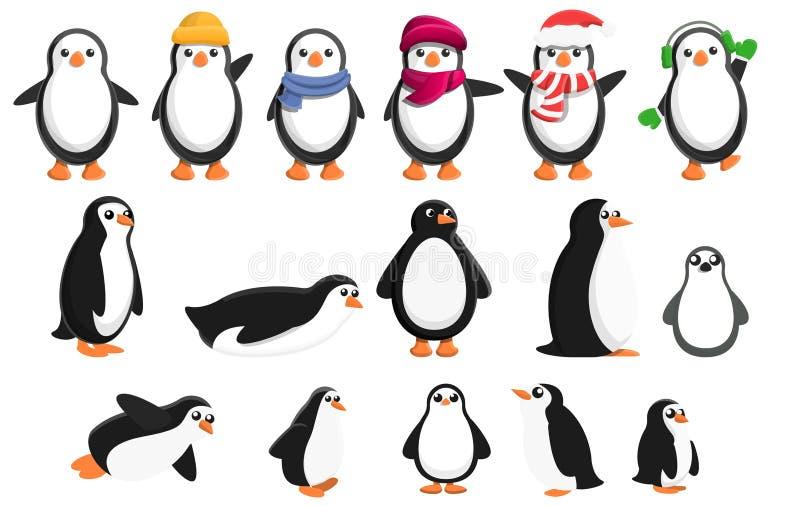 Pingwin ikony ustawiać, kreskówka styl ilustracja wektor