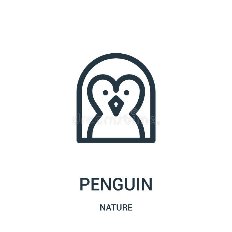 pingwin ikony wektor od natury kolekcji Cienka kreskowa pingwinu konturu ikony wektoru ilustracja Liniowy symbol dla używa na sie royalty ilustracja