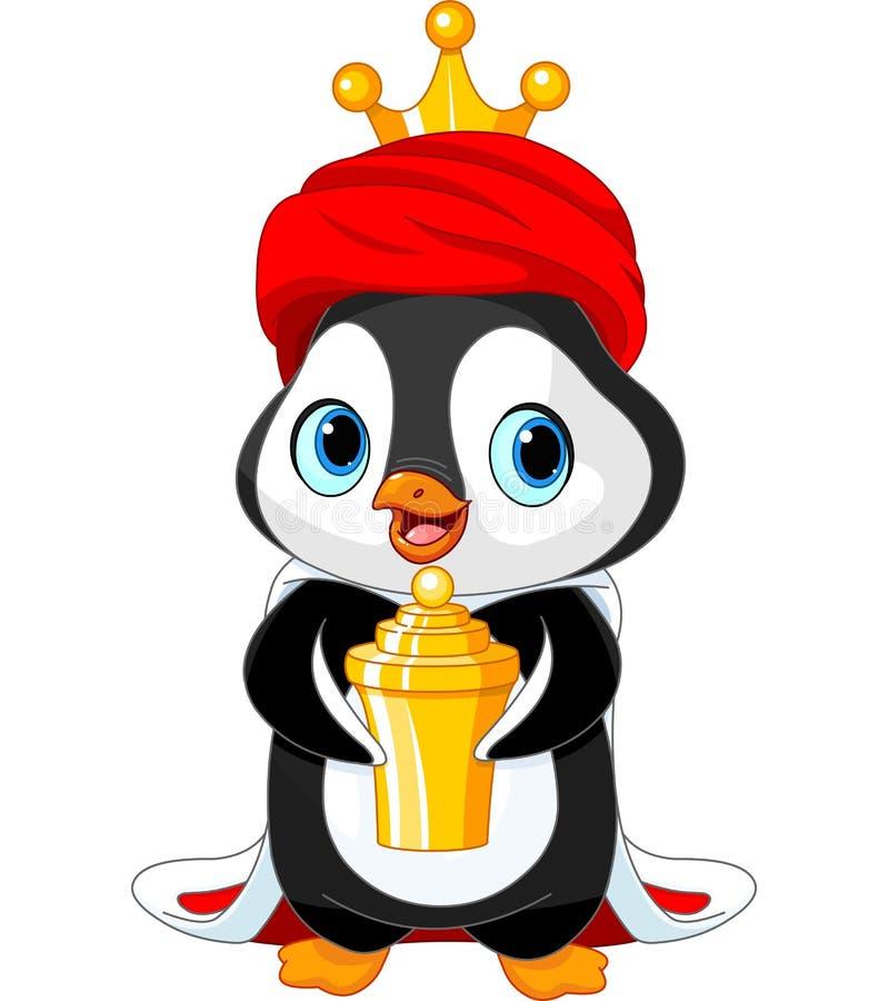 Pingwin jako Biblijni Magi ilustracja wektor