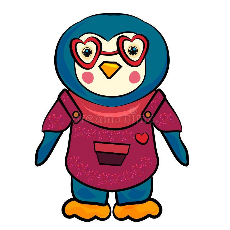 Pingwin kreskówki wektoru ilustracja Pingwin z szkłami w kształcie serce Pingwin w kombinezonie z sercem Mod zwierzęta royalty ilustracja
