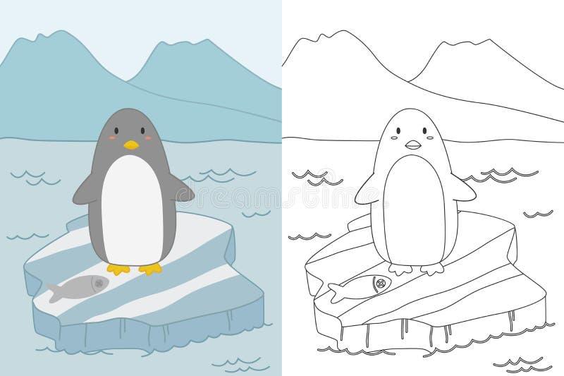 Pingwin na Lodowego floe kolorystyki strony szablonu wektorze ilustracji