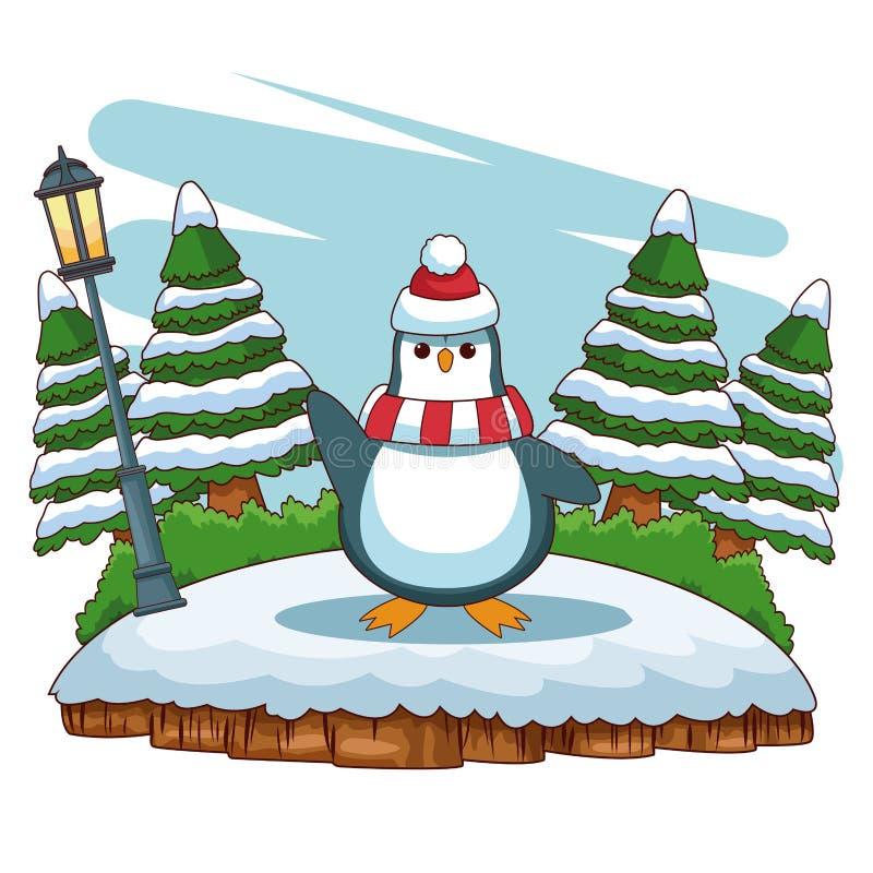 Pingwin przy lasem ilustracji