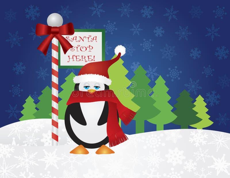 Pingwin przy Santa przerwy Tutaj znakiem ilustracji