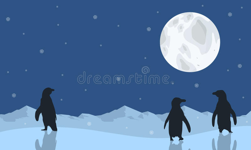 Pingwin sceneria z księżyc sylwetkami ilustracja wektor