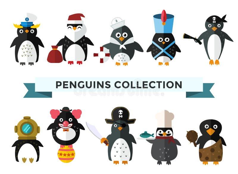 Pingwin ustalona wektorowa ilustracja ilustracji