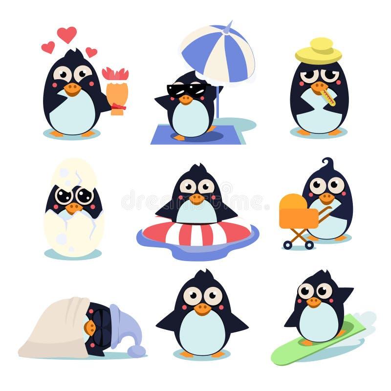 Pingwin Ustalona Wektorowa ilustracja z pingwinami wewnątrz, ilustracja wektor