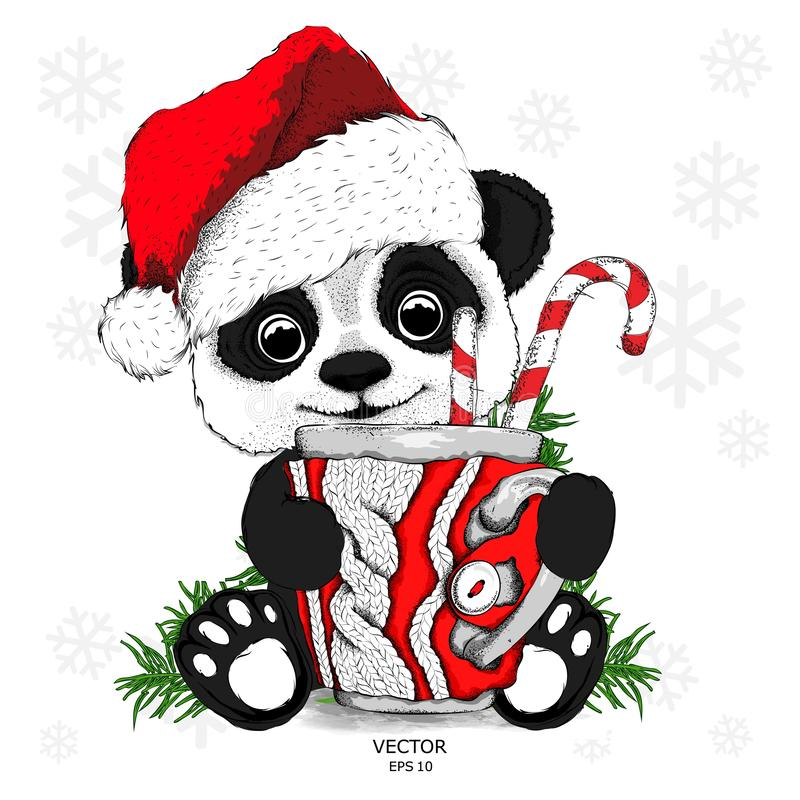 Pingwin w Święty Mikołaj kapeluszu z rękawiczkami i Filiżanka z trykotowym projektem Miodowniki i Bożenarodzeniowe piłki bauble b ilustracji