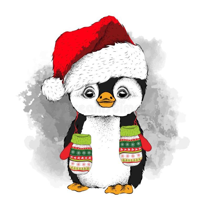 Pingwin w Święty Mikołaj kapeluszu z rękawiczkami i również zwrócić corel ilustracji wektora ilustracji