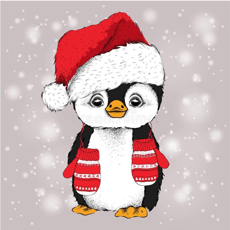 Pingwin w Święty Mikołaj kapeluszu z rękawiczkami i również zwrócić corel ilustracji wektora ilustracja wektor