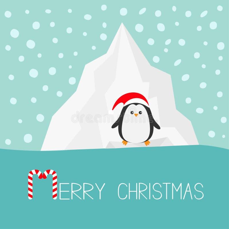 Pingwin w czerwonym Santa kapeluszu Góry lodowa błękitne wody śnieg w niebo Płaskim projekcie royalty ilustracja