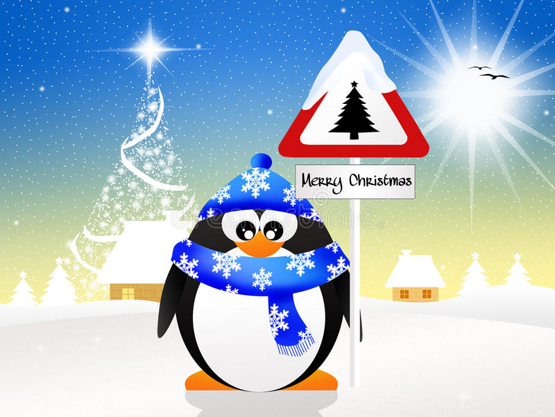 Pingwin z boże narodzenie znakiem ilustracja wektor
