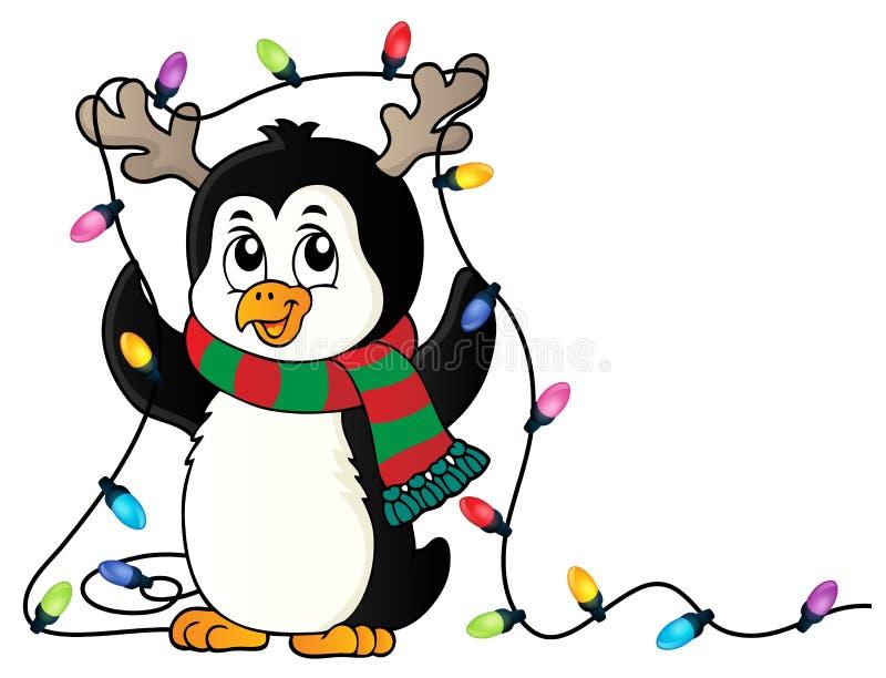 Pingwin z bożonarodzeniowe światła wizerunkiem 1 ilustracji