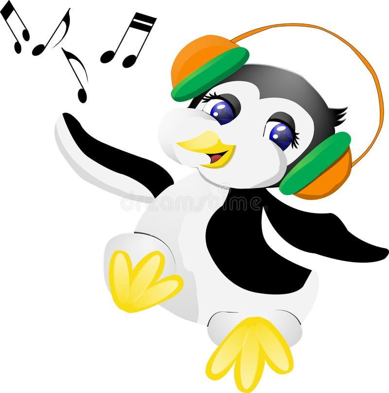 Pingwin z hełmofonami obrazy stock